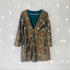 Nidodelida Jackets & Coats - Gold Embroidered Sequin Kimono Blazer
